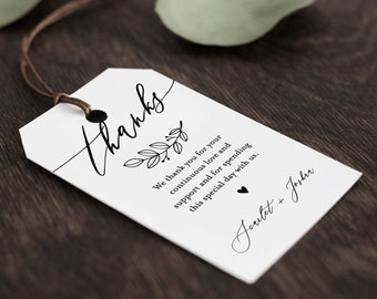 Minimalist Favor Tag Template, Wedding Thank You Tag, Rustic Bridal Shower Tag, Welcome Bag, INSTANT DOWNLOAD, 100% Editable #052-134FT