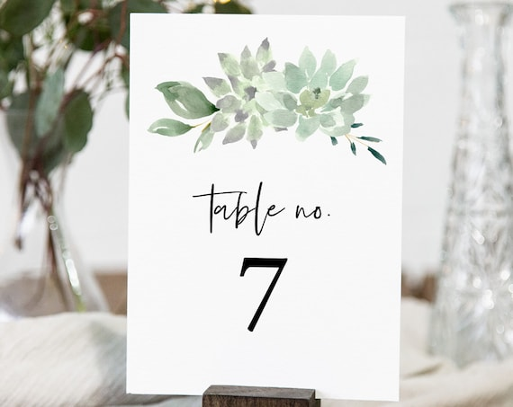Succulent Table Number Card Template, Printable Greenery Wedding Table Card, INSTANT DOWNLOAD, 100% Editable Text, Templett, DIY #075-141TC