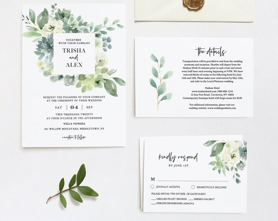 Greenery Wedding Invitation Set, Delicate Watercolor Succulent, Spring Summer Wedding, Editable Template, INSTANT DOWNLOAD, Templett #075A