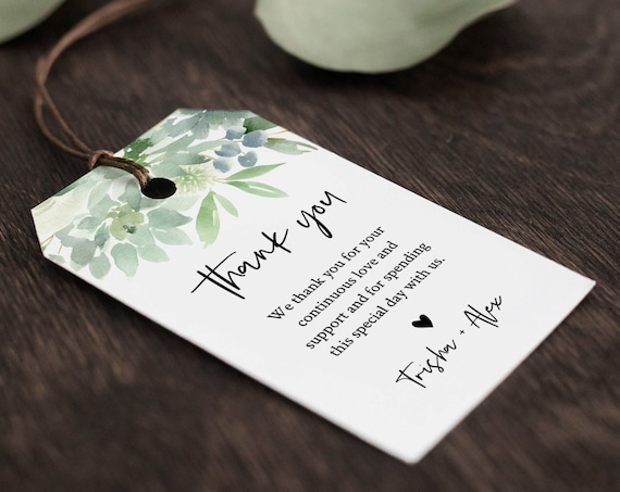 Succulent Favor Tag Template, Thank You Tag, Bridal Shower or Wedding, Welcome Bag, INSTANT DOWNLOAD, 100% Editable Text, Templett 075-124FT