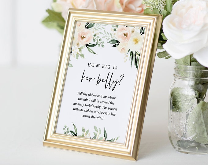 How Big Is Her Belly Game, Succulent Baby Shower Game, How Big Is Mommy's Belly Sign, Editable Template, 2 Sizes - 5x7 and 8x10 #075-146BG