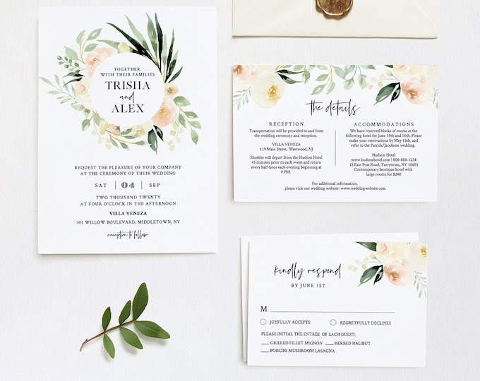 Wedding Invitation Set, Delicate Cream Peach Floral & Greenery, Spring Summer Wedding, Editable Template, INSTANT DOWNLOAD, Templett #076A