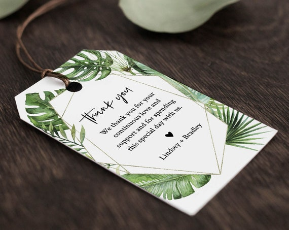 Tropical Favor Tag Template, Wedding Thank You Tag, Bridal Shower Tag, Welcome Bag, INSTANT DOWNLOAD, 100% Editable Text, Templett 083-133FT