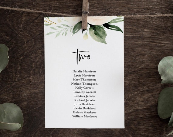 Seating Chart Template, Boho Greenery Wedding Seating Cards, 100% Editable Text, Modern Rustic, Instant Download, Templett, DIY #076-117SP
