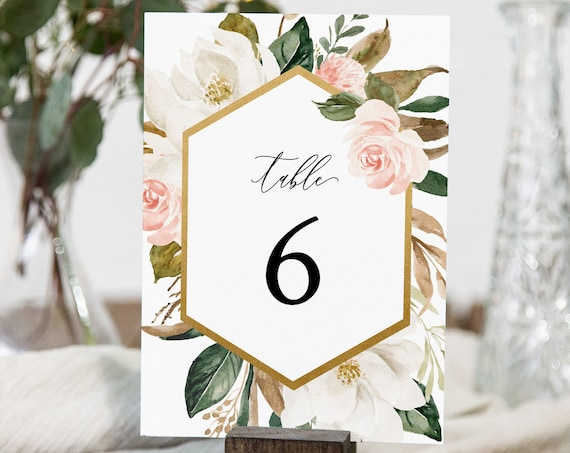 Magnolia Wedding Table Number Card, Printable Seating Card, Boho Floral & Greenery, INSTANT DOWNLOAD, Editable Template, Templett #015-144TC