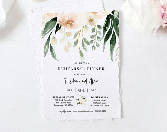 Greenery Rehearsal Dinner Template, INSTANT DOWNLOAD, 100% Editable Text, Printable Peach Floral Rehearsal Invite, Templett, DIY #076-141RD