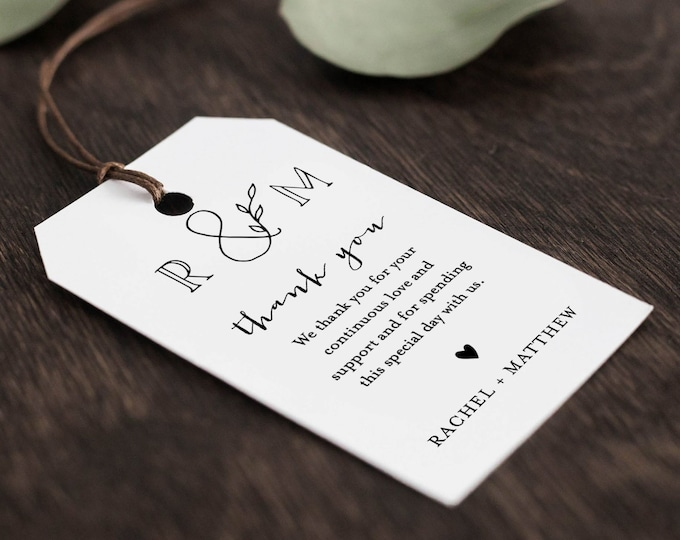 Favor Tag Template, Thank You Tag, Wedding, Bridal / Baby Shower Tag, Welcome Bag, INSTANT DOWNLOAD, 100% Editable Text, Templett #042-129FT