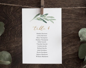 Olive Greenery Seating Chart Printable, Table Seating Cards, Wedding Seating Plan Template, INSTANT DOWNLOAD, 100% Editable Text #081-123SP