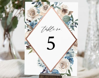 Rustic Floral Table Number Card, Blue Floral Wedding Table Card Template, INSTANT DOWNLOAD, Unlimited Table Numbers, Templett #077-147TC