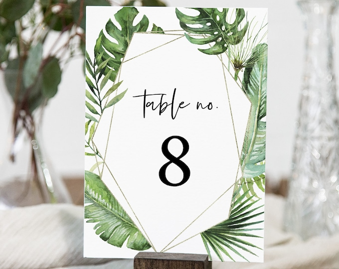 Tropical Table Card Template, Wedding Table Number Printable, Beach Wedding, Palm Greenery, Editable Text, INSTANT DOWNLOAD #083-152TC