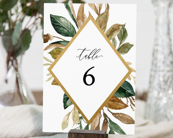 Table Number Card, Printable Wedding Table Number, Fall Foliage & Greenery, Magnolia Leaf, INSTANT DOWNLOAD, Editable Template #015-143TC