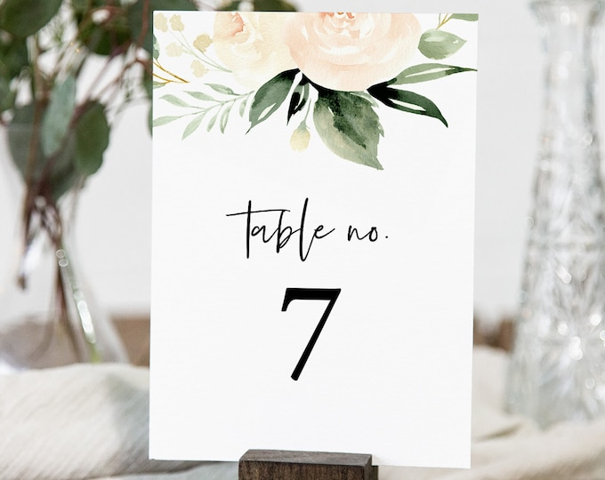 Boho Wedding Table Number Card, Peach Floral & Greenery Table Number, INSTANT DOWNLOAD, 100% Editable Template, Wedding Decor #076-142TC