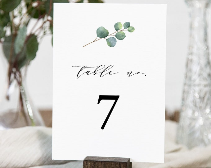 Eucalyptus Table Number Card, Greenery Wedding Table Card, INSTANT DOWNLOAD, Editable Template, Unlimited Table Numbers, Templett #036-146TC