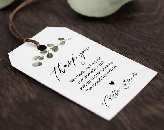 Wedding Favor Tag Template, Thank You Tag, Greenery Bridal Shower Tag, Welcome Bag, INSTANT DOWNLOAD, 100% Editable Text, Templett 082-125FT