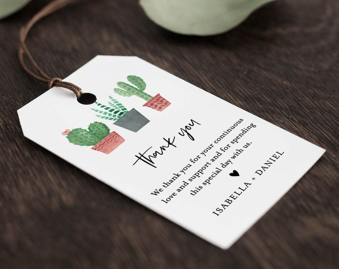 Cactus Favor Tag for Bridal Shower or Wedding, Welcome Bag Tag, Thank You Tag, INSTANT DOWNLOAD, 100% Editable Text, Printable, #086-131FT