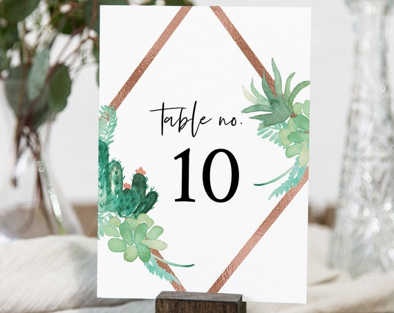 Succulent Table Number Card Template, Cactus & Rose Gold Wedding Table Number, 100% Editable Text, INSTANT DOWNLOAD, Templett #086-151TC