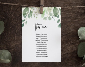 Wedding Seating Chart Template, Greenery Hanging Seating Cards, 100% Editable Text, Succulent, Instant Download, Templett, DIY #075-118SP