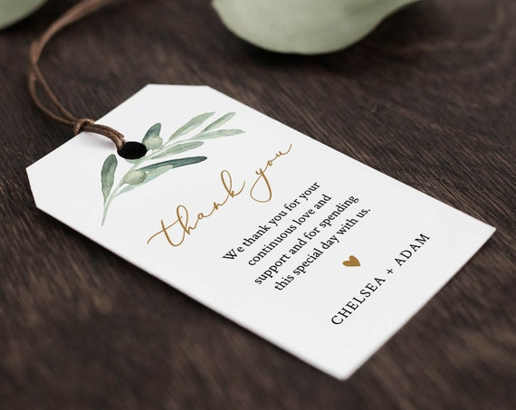 Wedding Favor Tag Template, Thank You Tag, Greenery Bridal Shower Tag, Welcome Bag, INSTANT DOWNLOAD, 100% Editable Text, Templett 081-126FT