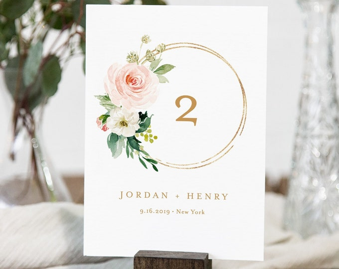 Boho Table Number Card Template, Wedding Table Number, 100% Editable Text, Blush Florals & Greenery, INSTANT DOWNLOAD, Templett  #043-149TC