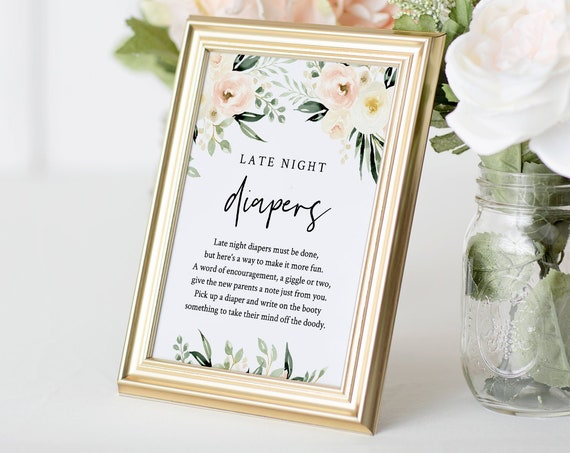Printable Late Night Diapers Sign, Boho Floral Baby Shower Game, Diaper Notes, Editable Template, INSTANT DOWNLOAD, 5x7 & 8x10 #076-148BG