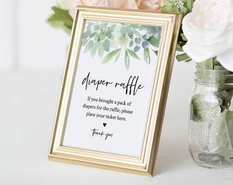 Diaper Raffle Printable, Baby Shower Diaper Raffle Insert and Sign, Succulent Greenery, DIY Editable Template, INSTANT DOWNLOAD #075-155BG