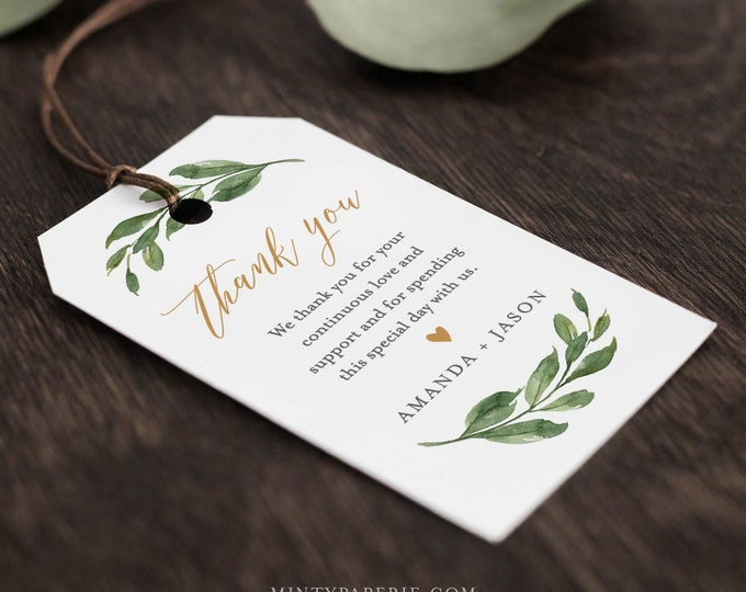 Wedding Favor Tag Template, Thank You Tag, Greenery Bridal Shower Tag, Welcome Tag, INSTANT DOWNLOAD, 100% Editable Text, Templett 067-127FT
