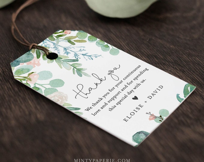 Garden Favor Tag for Bridal Shower or Wedding, Welcome Bag Tag, Thank You Tag, INSTANT DOWNLOAD, 100% Editable Text, Printable, #068A-130FT