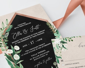 Greenery Wedding Invitation Set Template, Watercolor Foliage & Rose Gold Frame, INSTANT DOWNLOAD, 100% Editable Text, Templett #068B