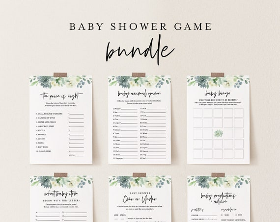 Baby Shower Game Bundle, 10 Editable Games, INSTANT DOWNLOAD, Personalize Questions, Succulent Shower Games, Editable Template, DIY #075BBGB