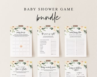 Baby Shower Game Bundle, Personalize Questions, 10 Editable Games, INSTANT DOWNLOAD, Floral Shower Games, Editable Template, DIY #076BBGB