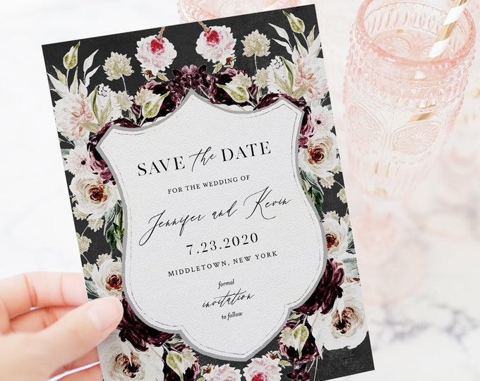 Save the Date Template, Moody Floral Crest, Purple & Blush, Printable Wedding Date Card, 100% Editable Text, Instant Download #074-151SD