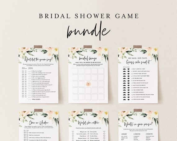Bridal Shower Game Bundle, 12 Editable Templates, INSTANT DOWNLOAD, Customize Name & Questions, Peach Floral Bridal Games, Templett #076BGB