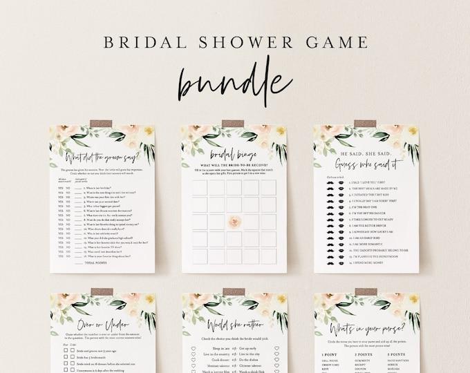 Bridal Shower Game Bundle, 12 Editable Templates, INSTANT DOWNLOAD, Customize Name & Questions, Peach Floral Bridal Games, Templett #076BGB