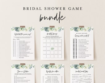 Bridal Shower Game Bundle, 11 Editable Games, INSTANT DOWNLOAD, Customize Name & Questions, Succulent Shower Game Template, DIY #075BGB
