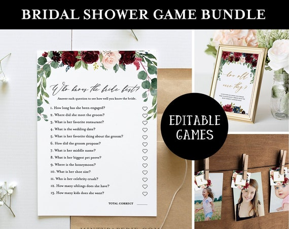 Bridal Shower Game Bundle, Editable Games, INSTANT DOWNLOAD, Customize Name & Questions, Printable Wedding Shower Game Template, DIY #062BGB