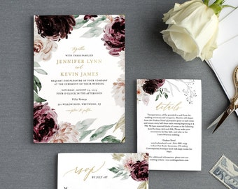 Moody Florals Wedding Invitation Suite Template, 100% Editable Text, Romantic Purple Boho, Invite, RSVP & Detail, INSTANT DOWNLOAD #074A