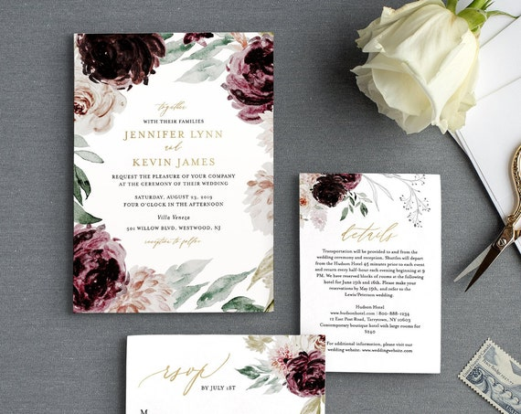 Moody Florals Wedding Invitation Suite Template, 100% Editable Text, Romantic Purple Boho, Invite, RSVP & Detail, INSTANT DOWNLOAD #074A