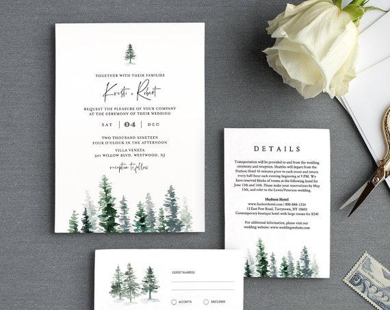 Pine Wedding Invitation Suite, Winter Rustic Wedding Invite, RSVP and Details, 100% Editable Text, INSTANT DOWNLOAD, Templett, DiY  #073A