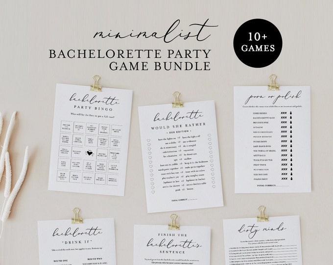 Bachelorette Party Game Pack Bundle, 11 Games, Minimalist, Dirty Adult Games, 100% Editable Templates, Instant Download, Templett #045BPG