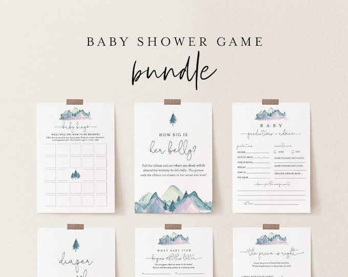 Baby Shower Game Bundle, 12 Editable Games, Mountain Pine, INSTANT DOWNLOAD, Personalize Questions, Editable Template, Templett #063BBGB