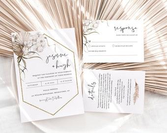 Bohemian Wedding Invitation Set, Dried Foliage, Pampas, Palm Wedding Invite, RSVP, Detail, Editable Template, Instant Download #0022B