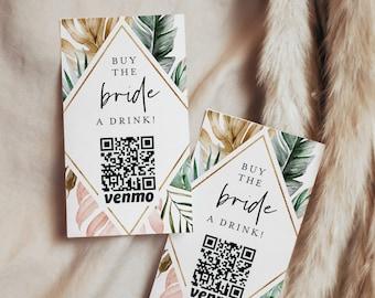 Buy the Bachelorette a Drink, Bride Venmo Card, Paypal, QR Code, Cash App Sticker / Ticket, Editable, Instant Download, Templett #087-103DC