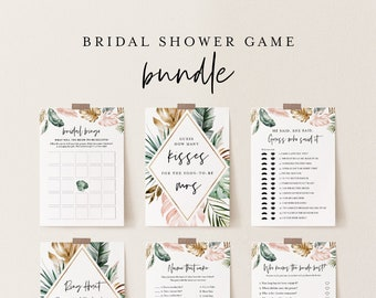 Bridal Shower Game Bundle, 13 Editable Templates, INSTANT DOWNLOAD, Customize Name & Questions, Tropical Bridal Games, Templett #087BGB