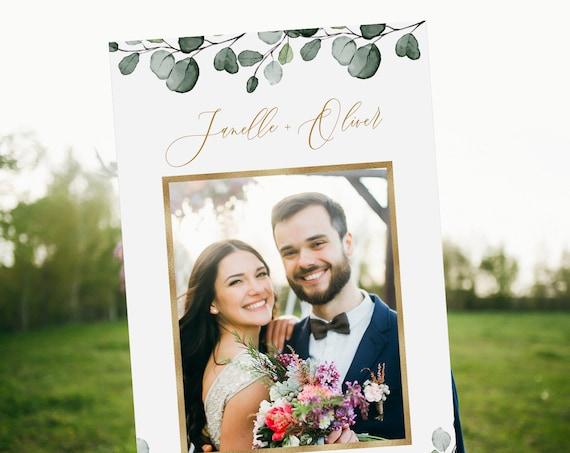 Greenery Photo Prop Frame, Bridal Shower Frame, Wedding Photo Social Media, Editable Template, Instant Download, Templett #007-107PP