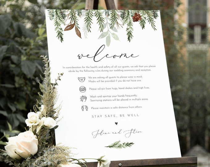 Covid Wedding Welcome Sign, Safety Rules + Guidelines Poster, Winter Pine, Mask, Social Distance, Instant Download, Templett #0017-122CVW