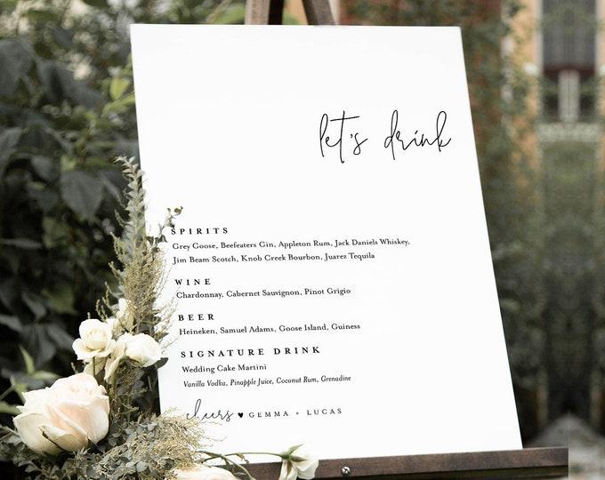 Minimalist Bar Menu Sign, Printable Wedding Bar Menu, Let's Drink Menu, 100% Editable Template, Instant Download, Templett, DIY #095A-105BM
