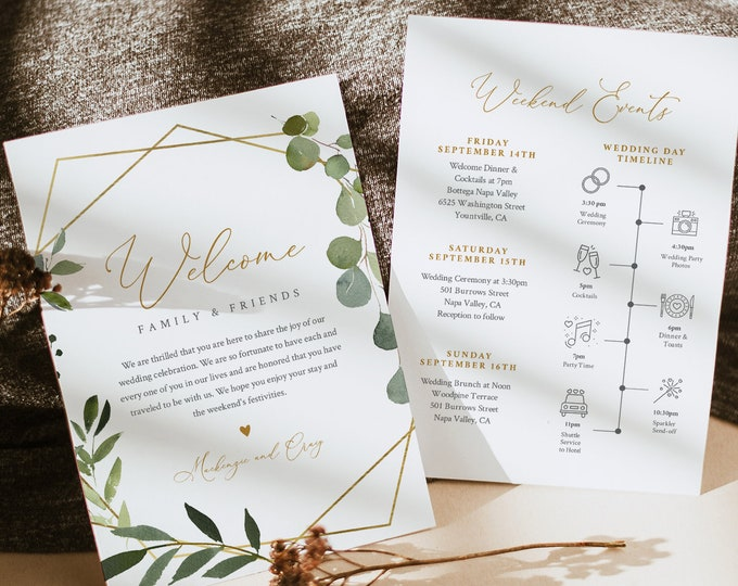Greenery Welcome Letter & Timeline Template, Wedding Order of Events, Itinerary, Instant Download, Editable Text, Templett #056-164WB