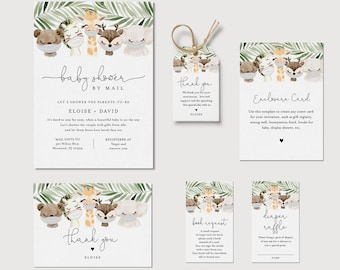 Baby Shower Bundle, Masked Baby Animal, Virtual Shower, Invite, Book Request, Favor Tag, Editable, Instant Download, Templett 0008C-BDL2