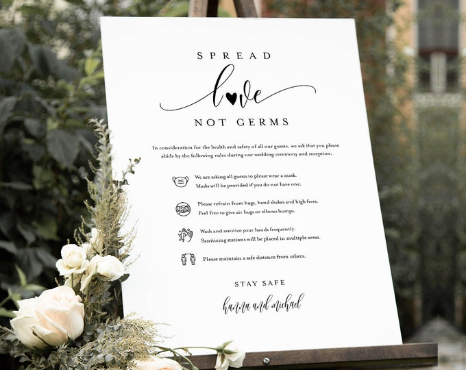 Safety Rules + Guidelines, Covid Wedding Welcome Sign, Minimalist Poster, Mask, Social Distance, Instant Download, Templett #008-112CVW