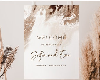 Agate Welcome Sign, Printable Bohemian Wedding or Bridal Shower Sign, Earthy Geode, Instant Download, Editable Template, Templett #098-252LS